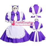 French Purple-White Cotton Sissy Maid Dress Uniform Cosplay Costume Tailor-Made[G1567]