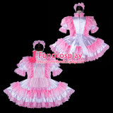 French Sissy Maid Satin Dress Lockable Uniform Cosplay Costume Tailor-Made[G2274]