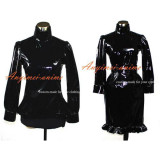French Sissy Maid Gothic Lolita Punk Black Pvc Outfit Dress Cosplay Costume Tailor-Made[G387]