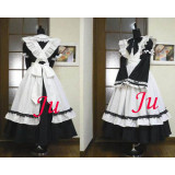 French Black-White Cotton Sissy Maid Lockable Dress Cosplay Costume Tailor-Made[CK170]