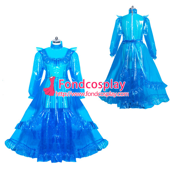 French lockable blue clear PVC sissy maid long dress unisex Tailor-made[G3917]