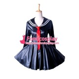 French Sissy Maid Dress Sex Faux Leather School Uniform Dress Cosplay Costume Tailor-Made[G1353]