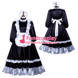 French Sissy Maid Satin Dress Lockable Uniform Cosplay Costume Tailor-Made[G3733]