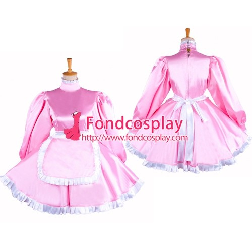 French Lockable Sissy Maid Pink Satin Dress Uniform Cosplay Costume Tailor-Made[G1550]