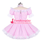 French pink gingham sissy maid lockable dress Unisex Tailor-made[G3925]