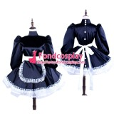 French Black Satin Sissy Maid Dress With Buttons Uniform Tailor-Made[G1560]