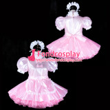 French Sissy Maid Satin Dress Lockable Uniform Cosplay Costume Tailor-Made[G2316]