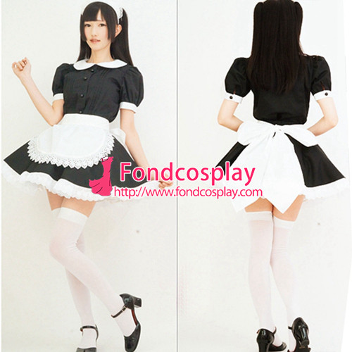 French Sissy Maid Satin Dress Lockable Uniform Cosplay Costume Tailor-Made[G2226]