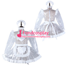 French Sissy Maid Clear Pvc Dress Lockable Uniform Cosplay Costume Tailor-Made[G2298]