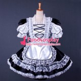 French Lockable Sissy Maid Black-White Satin Dress Uniform Cosplay Costume Tailor-Made[G1569]