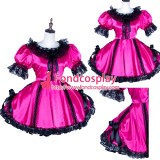 French Lolita Punk Gothic Satin Sissy Maid Dress Tailor-Made[G1767]