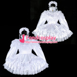 French Sissy Maid Satin Dress Lockable Uniform Cosplay Costume Tailor-Made[G2327]