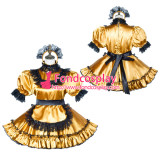 French Sissy Maid Satin Dress Lockable Uniform Cosplay Costume Tailor-Made[G3813]
