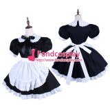 French Black-White Lockable Sissy Maid Dress Uniform Cosplay Costume Tailor-Made[G1571]