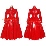 French Gothic Lolita Punk Red Pvc Sissy Maid Long Dress Cosplay Costume Tailor-Made[G379]