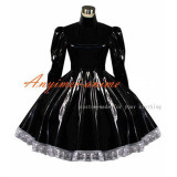French Sissy Maid Gothic Lolita Punk Black Pvc Dress Cosplay Costume Tailor-Made[G399]