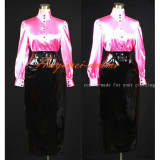 French Hot Pink-White Sissy Maid Dress Gothic Lolita Punk Pvc-Satin Outfit Cosplay Costume Tailor-Made[G389]