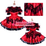 French Lockable Sissy Maid Satin Dress Uniform Costume Tailor-Made[G1590]