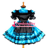 French Lockable Sissy Maid Dress Blue Satin Maid Uniform Cosplay Costume Tailor-Made[G1050]