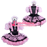 French lockable black-pink sissy maid satin dress unisex Tailor-made[G3898]