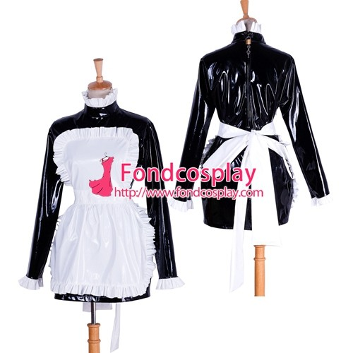 French Lockable Sissy Maid Pvc Dress Uniform Cosplay Costume Tailor-Made[G1743]