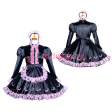 French Lockable Satin-Lace sissy maid dress Tailor -Made[G3861]