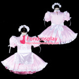 French Sissy Maid Satin Dress Lockable Uniform Cosplay Costume Tailor-Made[G2317]