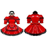 French Sexy Sissy Maid Pvc Dress Red Lockable Uniform Cosplay Costume Tailor-Made[G432]