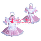 French lockable pink sissy maid satin dress unisex Tailor-made[G3884]