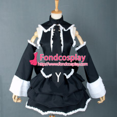 French Vocaloid2 Punk Black Cotton Sissy Maid Dress Cosplay Costume Tailor-Made[G757]
