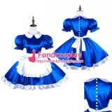 French Satin Sissy Maid Blue Dress With Pearl Buttons Uniform Tailor-Made[G1492]