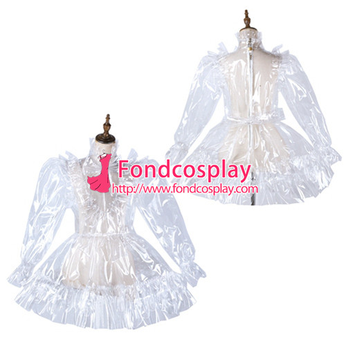 French Sissy Maid Clear Pvc Dress Lockable Uniform Cosplay Costume Tailor-Made[G2179]