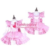French Lockable-Sissy Maid Pvc Dress Pink Uniform Cosplay Costume Tailor-Made[G1650]