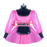 French hot pink clear PVC lockable sissy maid dress Tailor-made[G3863]