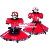 French Lockable Sissy Maid Pvc Dress Red Uniform Cosplay Costume Tailor-Made[G1653]