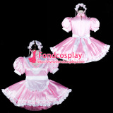 French Sissy Maid Satin Dress Lockable Uniform Cosplay Costume Tailor-Made[G2320]