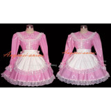 French Sexy Sissy Maid Pvc Dress Pink Lockable Uniform Cosplay Costume Tailor-Made[G287]