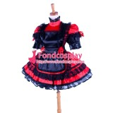 French Lockable Sissy Maid Red-Black Satin Dress Uniform Costume Tailor-Made[G1588]