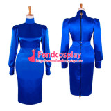 French Sissy Maid Gothic Lolita Blue Satin Dress Cosplay Costume Custom-Made[G501]