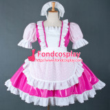 French Sexy Sissy Maid Dress Lockable Uniform Hot Pink Pvc Dress Cosplay Costume Custom-Made[G756]