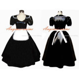 French Sexy Sissy Maid Gothic Lolita Punk Black Pvc Dress Cosplay Costume Tailor-Made[G304]
