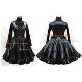 French Sissy Maid Gothic Lolita Punk Black Pvc Dress Outfit Cosplay Costume Tailor-Made[G447]