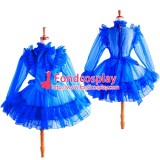 French Sissy Maid Blue Organza Lockable Uniform Dress Cosplay Costume Tailor-Made[G1366]