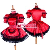 French Lockable Sissy Maid Red Satin Dress Uniform Costume Tailor-Made[G1587]