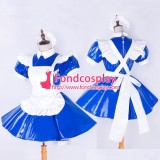 French Lockable-Sissy Maid Pvc Dress Blue Uniform Cosplay Costume Tailor-Made[G1652]