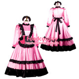 French Sissy Maid Satin Dress Lockable Uniform Cosplay Costume Tailor-Made[G3735]