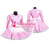 French Lockable Sissy Maid Pvc Dress Pink Uniform Cosplay Costume Tailor-Made[G1568]