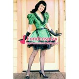 French Lockable Green Satin Sissy Maid Dress Uniform Tailor-Made[G1555]