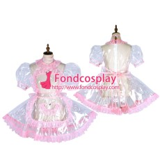 French Clear Pvc Sissy Maid Lockable Dress Tpu Uniform Tailor-Made[G1800]