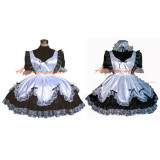 French Sexy Sissy Maid Satin Black Dress Lockable Uniform Cosplay Costume Tailor-Made[G281]